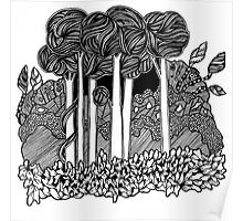 Tall Forest black and white doodle art Poster