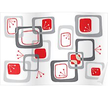 Retro Red Cherry Squares Poster