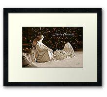 Manger Scene Christmas Card Framed Print