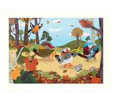 Bird Band Marching Through The Woods Art Print