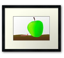 worm and big apple Framed Print