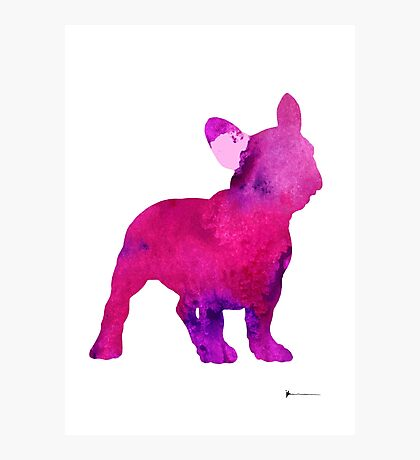 Pink frenchie painting watercolor art print Photographic Print