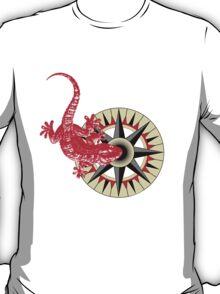 Red Gecko Lizard On Compass Rose T-Shirt