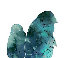 Penguins painting watercolor art print silhouette by Joanna Szmerdt