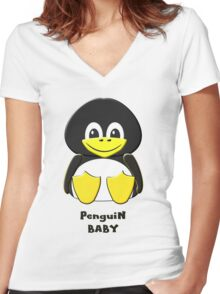 Penguin Baby T-shirt & leggings, etc Women's Fitted V-Neck T-Shirt