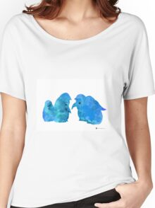 Blue penguins art print watercolor painting Women's Relaxed Fit T-Shirt