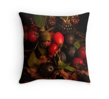 Hedgerow Fruits Throw Pillow