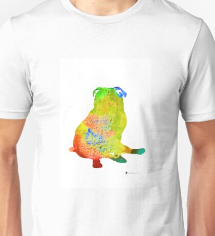 Pug dog silhouette colorful poster Unisex T-Shirt