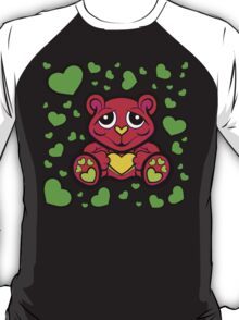 Love Teddy Bear Red and Green  T-Shirt