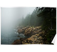 Fog on a Rocky Shore, Acadia National Park, Maine Poster