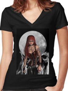 A Gothic Moon Warrior Women's Fitted V-Neck T-Shirt