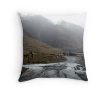 Icey Creek Crossing Throw Pillow