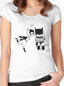 Catwoman Kissing Batman Women's Fitted Scoop T-Shirt