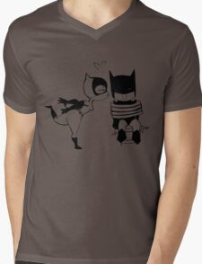 Catwoman Kissing Batman Mens V-Neck T-Shirt
