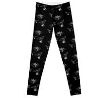 Tea Bats Repeating Pattern Black Leggings Leggings
