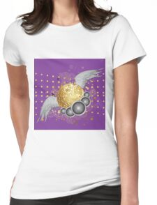 Gold disco ball with wings Womens Fitted T-Shirt