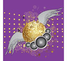 Gold disco ball with wings Photographic Print