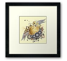 Gold disco ball with wings 2 Framed Print