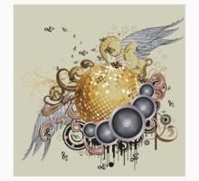 Gold disco ball with wings 2 One Piece - Short Sleeve