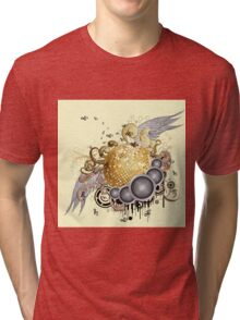 Gold disco ball with wings 2 Tri-blend T-Shirt