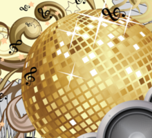 Gold disco ball with wings 2 Sticker