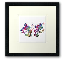 Mickey Minnie Mouse Love Watercolor Framed Print