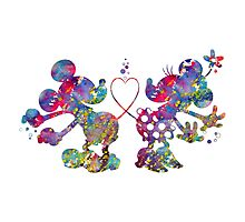 Mickey Minnie Mouse Love Watercolor Photographic Print