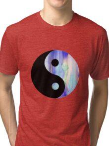 Blue Watercolor Yin Yang Tri-blend T-Shirt