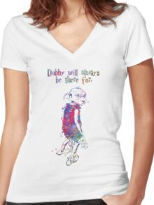 Dobby Quote from Harry Potter Watercolor Women's Fitted V-Neck T-Shirt