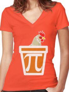 Chicken Pot Pi Women's Fitted V-Neck T-Shirt