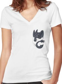 Is that a dragon in your pocket? Women's Fitted V-Neck T-Shirt