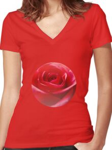 Red rose Close up Women's Fitted V-Neck T-Shirt