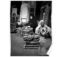 People in Luxor Market, Egypt Poster