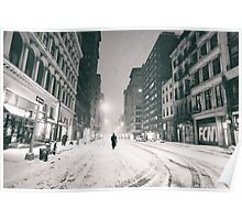 Snowy Night in New York City Poster
