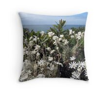 So Many Flanel Flowers Throw Pillow