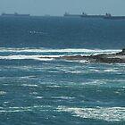 Coal Ships Off Swansea Heads, NSW, Australia. by Phil Woodman