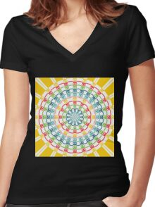Colorful flowers kaleidoscope Women's Fitted V-Neck T-Shirt