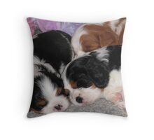 Three Sleepy Puppies Throw Pillow