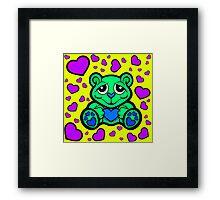 Love Teddy Bear Green and Purple  Framed Print