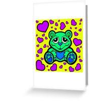 Love Teddy Bear Green and Purple  Greeting Card