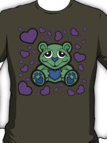 Love Teddy Bear Green and Purple  T-Shirt