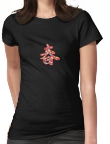 Chinese Calligraphy 'Chun' Spring Flowers T-shirt (Small Print) Womens Fitted T-Shirt