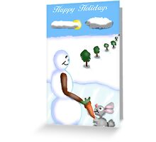 Snowman and Bunny  Greeting Card
