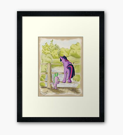 Twilight and Spike in Hundred Acre Wood Framed Print