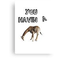 You having a giraffe? Canvas Print