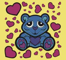 Love Teddy Bear Blue and Pink  Kids Clothes