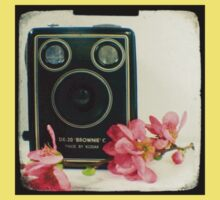Vintage Kodak Brownie camera with pink apple blossom flowers Kids Clothes