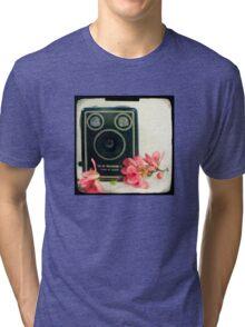 Vintage Kodak Brownie camera with pink apple blossom flowers Tri-blend T-Shirt