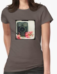 Vintage Kodak Brownie camera with pink apple blossom flowers Womens Fitted T-Shirt