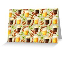 Beer Hops Brats Pretzles Greeting Card
